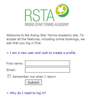 Rising Star Tennis Request a lesson log in